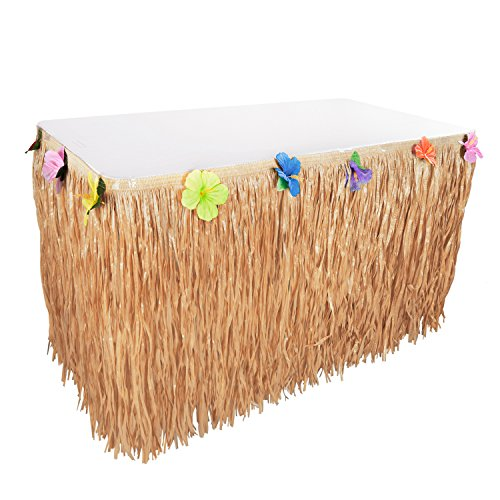 Hawaiian Luau Hibiscus Natural Color String & Colorful Sproilk Faux Flowers Table Hula Grass Skirt for Party Decoration, Events, Birthdays, Celebration (1 Pack)