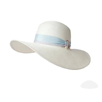 Cappello ZHIRONG Estate Estivo da Donna Spiaggia Spiaggia Tesa Larga Beige  Bianco Estivo Casual Moda Donna 3d1d2f011641