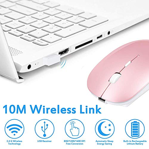 Wireless Mouse, Computer Mouse, Candywe 2.4G Slim Silent Click Noiseless Optical Mouse with USB Receiver & Type-C Adapter, Wireless Mouse for Laptop, Computer, Notebook, Desktop, PC, MacBook (Pink)