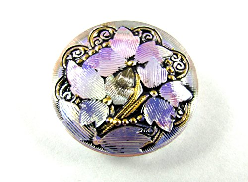 1 pc Hand Made Art Czech Glass Button, Size12, 27mm, Flower Magic Crystal AB-Violet