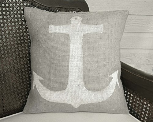 Anchor - Burlap Pillow - 16x16 - Insert Included - Nautical Home Decor