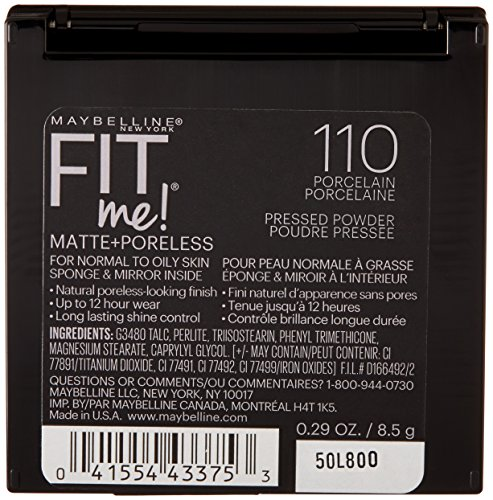 Maybelline New York Fit Me Matte Plus Poreless Powder, 110 Porcelain, 0.29 Ounce