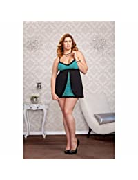 iCollection Women's Plus-Size Stretch Lace and Microfiber Babydoll