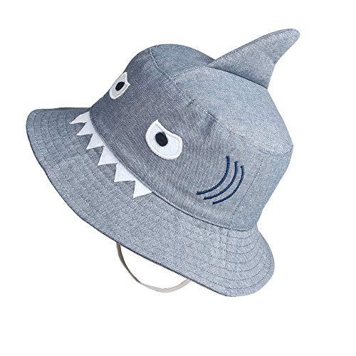 Shark Sun Hat for Kids Toddler Little Summer Bucket Hat Fisherman Play Cap for Boy Girl Grey -