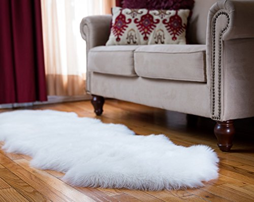 Faux Fur Sheepskin Rug, Ivory, 2ft x 6ft with Thick Pile and Non Skid Back | Machine Washable, Makes a Soft, Stylish Home Décor Accent for a Kid's Room, Bedroom, Nursery, Living Room or Bath