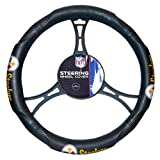 FN 15 X 15 Inches NFL Steelers Steering Wheel Cover, Football Themed Three Sides Team Logo Name Rubber Grip, Team Logo Fan Merchandise Athletic Team Spirit, Gold Black Blue Red Silver White, Pvc