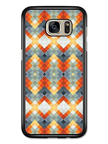 Block Kaleidoscope (Geometric Square Block Knitting Kaleidoscope in Orange and Grey case for Samsung Galaxy S7 Edge)