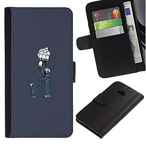 LECELL--Cuero de la tarjeta la carpeta del tirón Smartphone Slots Protección Holder For HTC One M8 -- Globo Amigos --