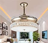 TiptonLight French Gold with Crystal Ceiling Fan -42 Inch with Remote-4 Leaves Modern Style for Living Room,Bedroom