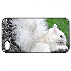 Albino Squirrel - Case Cover for iPhone 4 and 4s (Squirrels Series, Watercolor style, Black)