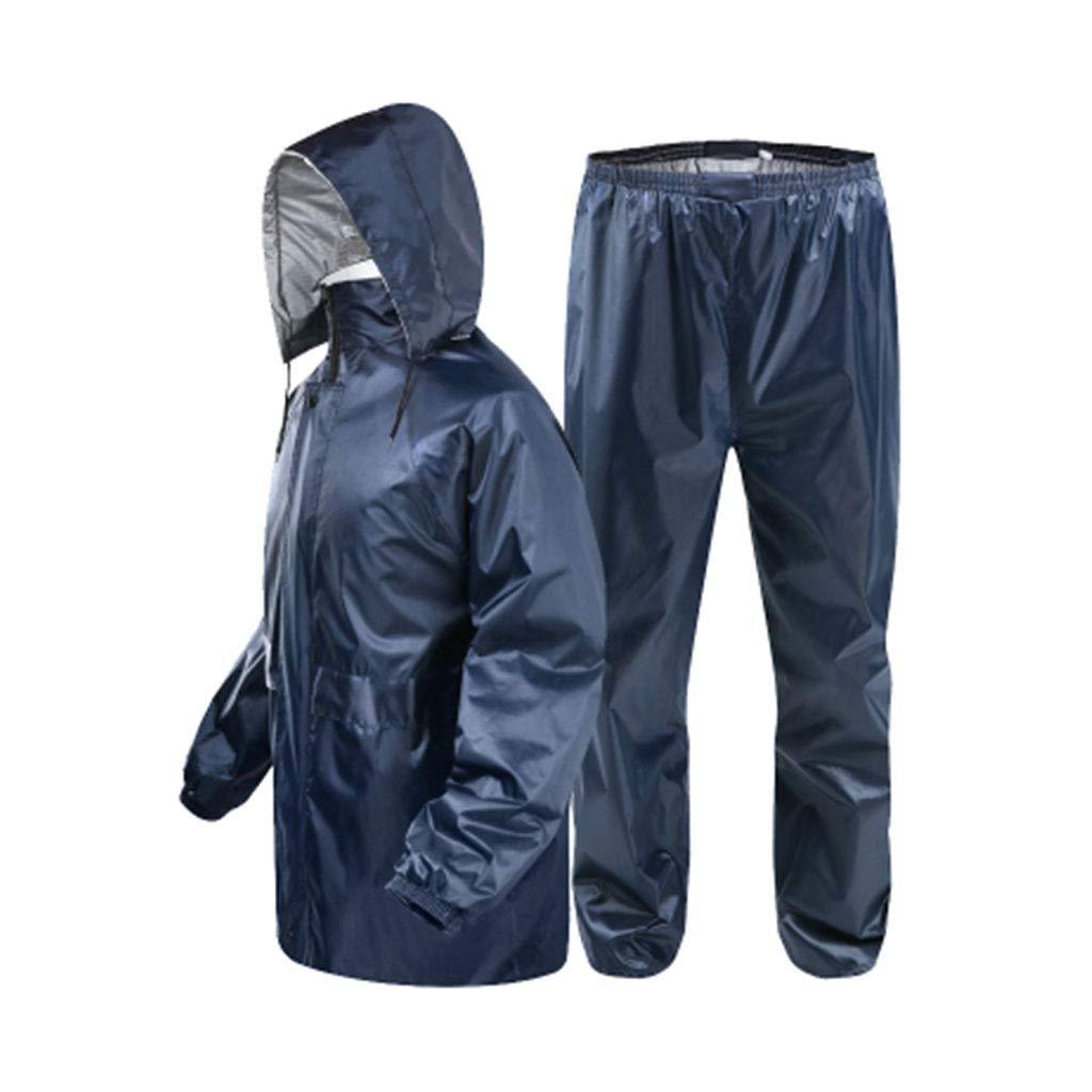 Navy X-grand LICCC Imperméable Pantalon de Pluie Costume Double épaisseur imperméable imperméable à l'eau en Plein air de pêche imperméable Poncho épais (Bleu Profond) (Couleur   Navy, Taille   L)