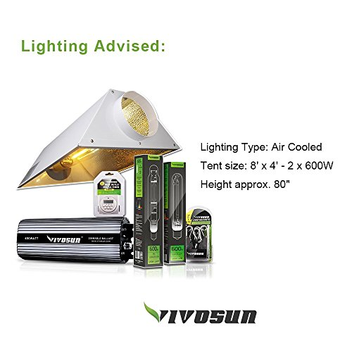 "51IfPhpXtzL - VIVOSUN 96""x48""x80"" Mylar Hydroponic Grow Tent with Observation Window and Floor Tray for Indoor Plant Growing 4'x8'"