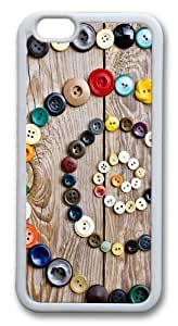 Colorful Buttons TPU Silicone Case Cover for iphone 6 plus 5.5 inch White