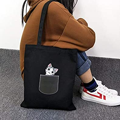 a41c3b4a540 Image Unavailable. Image not available for. Color: Chi's Sweet Home Cute  Cat Women's Bag Funny Dog Print Shoulder Canvas Bag Student Portable Handbag
