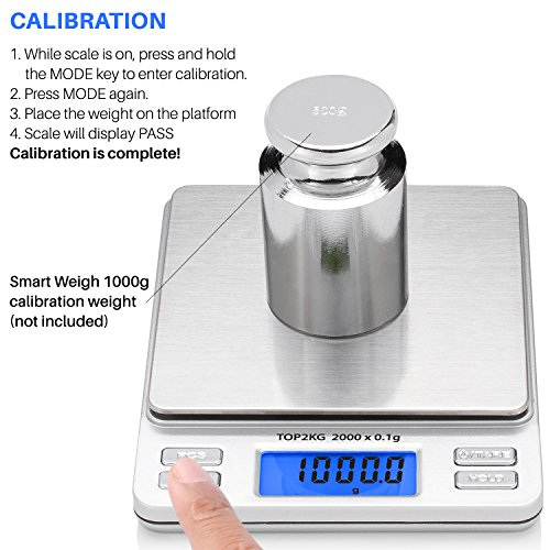 Smart weigh digital pro pocket scale with back lit lcd for Kitchen pro smart scale