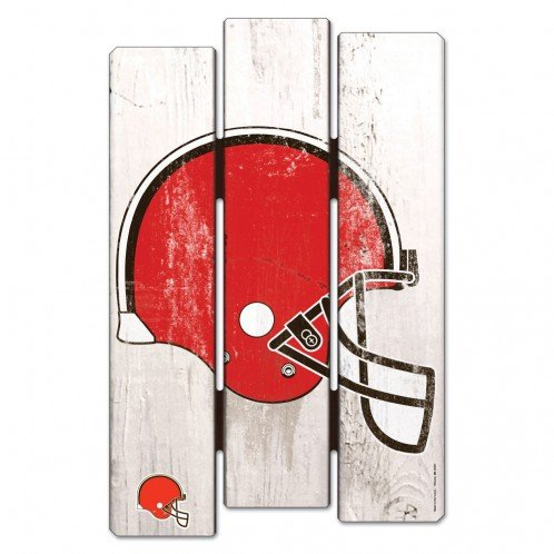 Wincraft NFL Cleveland Browns Wood Fence Sign, Black ()