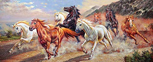 JH Lacrocon Canvas Wall Art Rolled - Eight Horses Animal Painting Prints - 120X50 cm (Approx. 48X20 inch)