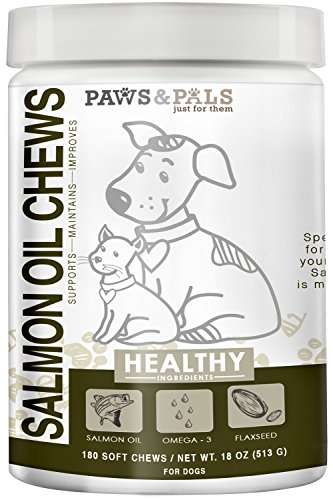 Paws & PalsWild Alaskan Salmon Fish Oil Omega 3 & 6 for Dogs - Anti Itch Skin & Coat + Allergy Support - Hip & Joint + Natural Arthritis Dog Supplement - 180 ct Chew BiteTreats