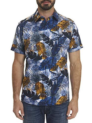 Robert Graham Palm Bay S/S Printed Woven Sport Shirt Blue Large