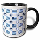 3dRose 777images Flag and Crest Patterns - The flag and Coat of Arms of Greece in a Greek patriotic pattern - 11oz Two-Tone Black Mug (mug_79406_4)