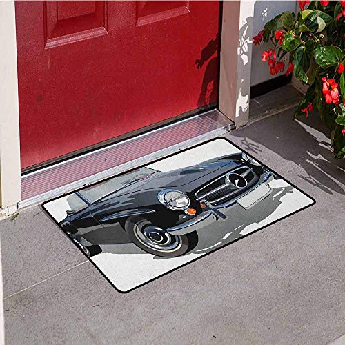 Gloria Johnson Cars Inlet Outdoor Door mat Classical Retro Vehicle Antique Convertible Prestige Old Fashion Revival Catch dust Snow and mud W29.5 x L39.4 Inch Black Pale Grey White