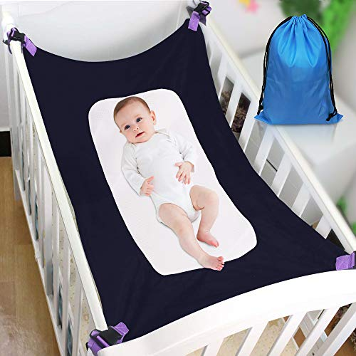 Baby Hammock for Crib, Soft and Comfortable Material with Strong Adjustable Straps, Mimics The Womb, Upgraded Safety Measures, Newborn Hammock (Blue)