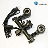 LimoStudio Photo Premium Quality Double Heads Universal Light Bulb Adapter Holder Flash Shoe Holder