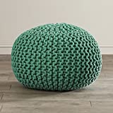 Modern Pouf Ottoman, Floor Knit Accent Ottoman, 100% Cotton, Can be used as a footrest (Emerald)