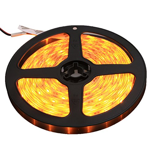XKTTSUEERCRR Waterproof LED 3528 SMD 300LED 5M Flexible Light Strip 12V 2A 24W 60LED/M (Yellow) ()