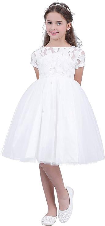 IEFIEL Robe de Mariage Demoiselle Fille Tutu