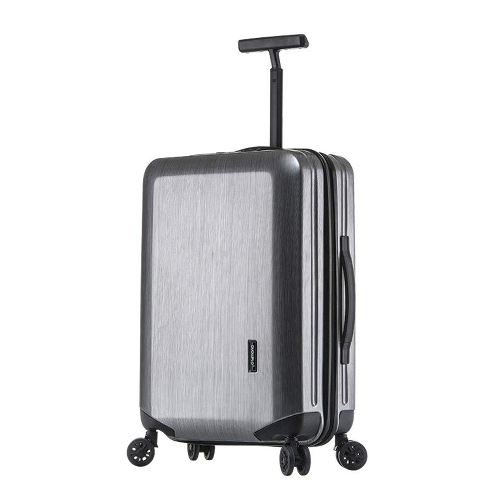 スーツケース 高度なロータリートラベルトロリー荷物TSAロック付きハードケース軽量ポータブルコラムサイレントローテーターマルチディレクター航空機搭乗 週末にスーツケースを運ぶ (色 : グレー, サイズ : 24inches) B07SYNMGQ5