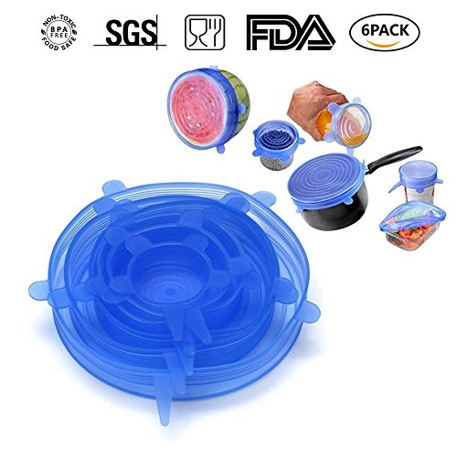 Stretch Lids Food Cover Reusable Lid Covers for Keeping Food Fresh,Dishwasher and Freezer Safe Silicone Stretch Lids Cover for Bowls,Pots,Cups (6Pack,Blue) ()