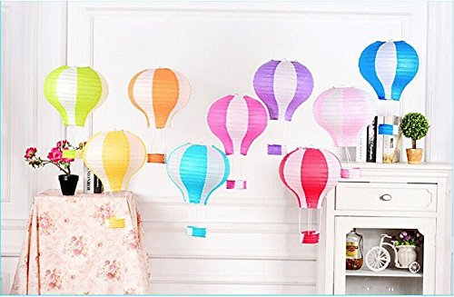 Hot Air Balloon Paper Lantern Reusable Chinese Japanese Party Ball Lamp Decoration 4 Festival Anniversary Christmas Wedding Engagement Happy Birthday String Light Rainbow Star Mix Color Set of 12 by Hot Air Balloon Paper Lantern (Image #2)