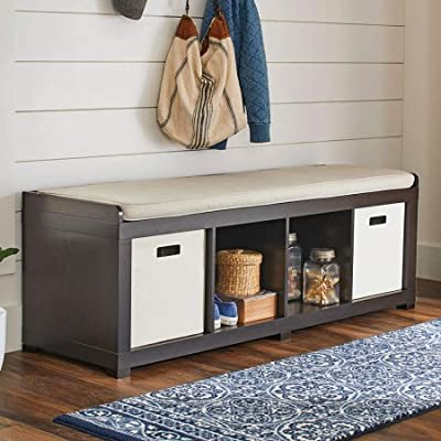 Better Homes and Gardens 4-Cube Storage Organizer Bench - Versatile Design Creates Multiple Storage & Extra Seating Transitional Style Great for Entryway Mudroom or Living Space - entryway-furniture-decor, entryway-laundry-room, benches - 51IfRP%2BLFfL. SS400  -