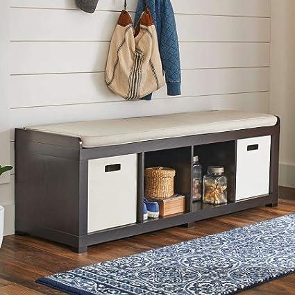 Better Homes And Gardens 4 Cube Storage Organizer Bench (4 Cube, Espresso