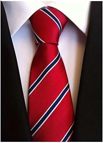 Allbebe Men's Classic Red Blue Striped Jacquard Woven Silk Tie Formal Necktie