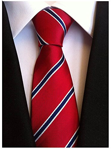 Allbebe Men's Classic Red Blue Striped Jacquard Woven Silk Tie Formal Necktie, One size