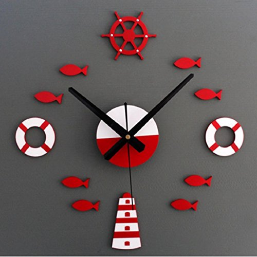 Wall Sticker,Ikevan Mediterranean Style Cruise fish DIY 3D Wall Clock Home Wall Stickers Decoration Art Clock Home Decor Gifts 40-70cm (Red)