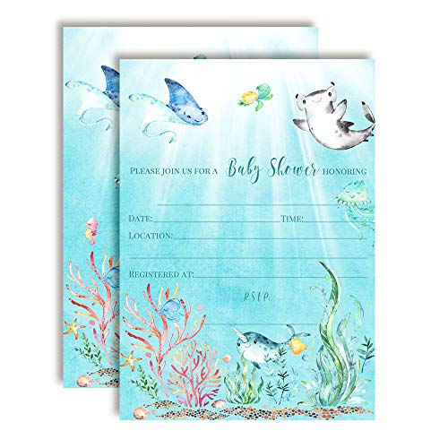 Underwater Cute Sea Life-Themed Baby Sprinkle Shower Invitations, 20 5