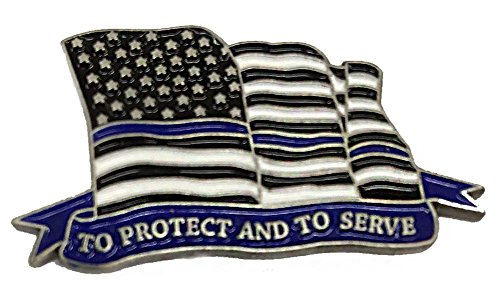 Flowing American Thin Blue Line Flag 3 Inch Challenge Coin