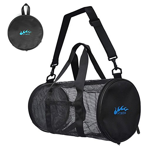 Diving Equipment Bags Scuba (Dive Bags,Mesh Duffle Gear Bag with Shoulder Strap Equipment for Beach,Swimming,Snorkeling,Scuba Diving and Outdoor Sports (Black, Small))