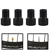 Forest Byke Company Set of 4 Bicycle Pump Presta Valve Adapters to Convert Valve to Schrader Valve to Fill with Air Black