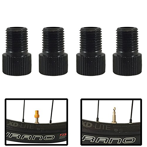 Forest Byke Company Set of 4 Bicycle Presta Valve Adapters for Road, Mountain, Track, Fixie Models (8 Color Options) (Black)
