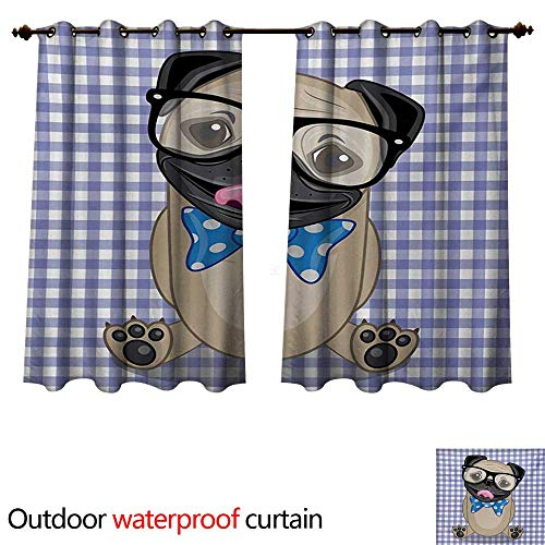 WilliamsDecor Pug Outdoor Curtains for Patio Sheer Nerdy Glasses and Dotted Bow Tie on a Puppy Pug with a Checkered Backdrop W55 x L72(140cm x 183cm) -