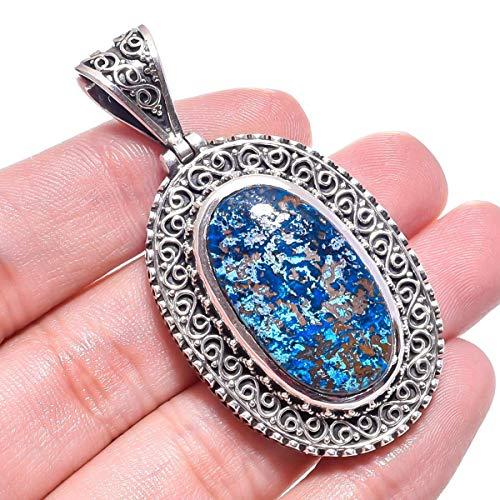 Valentine Special Bali Style Azurite Gemstone Pendant 22.48 Gms 925 Sterling Silver Jewelry 2.2