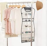 MISSLO Hanging Jewelry Organizer 80 Clear Pockets & 7 Hook Loops Storage for Storing Jewelries, Earrings, Necklaces, Makeups, Hair Accessories organizers in Closet, Travel, RV