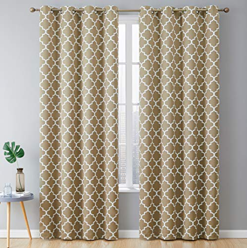 (HLC.ME Lattice Print Thermal Insulated Blackout Room Darkening Energy Efficient Window Curtain Grommet Panels - Set of 2-52