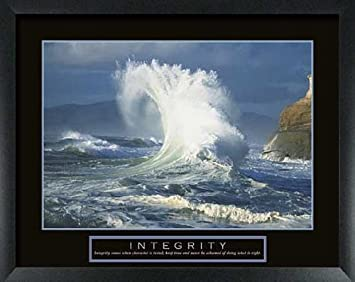Amazon.com: Integrity Ocean Wave Framed Motivational Print: Framed ...