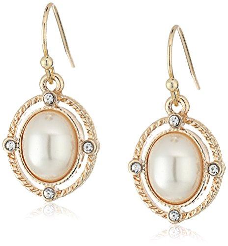 1928 Jewelry Aretes colgantes ovalados con detalles de perlas simuladas y cristales en tono dorado