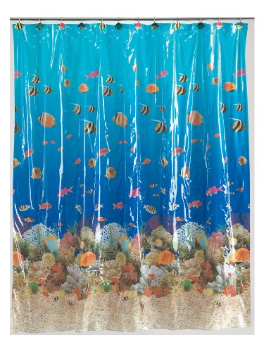 Carnation Home Fashions 6Feet by 6Feet Vinyl Print Shower Curtain, Sealife Garden Bathroom